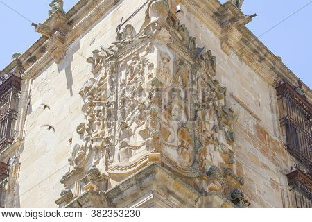House-palace Of Marquis Of Conquest Or Marques De La Conquista, Trujillo, Spain. Swifts Flying Besid
