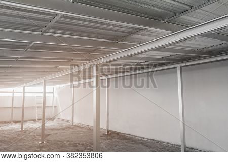 Under Metal Sheet Roof Corrugated Metallic Texture Surface In New Construction