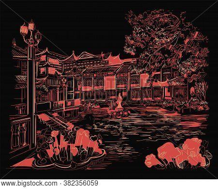 Yuyuan Garden Garden Of Happiness , Old City Of Shanghai, Landmark Of China. Hand Drawn Monochrome V