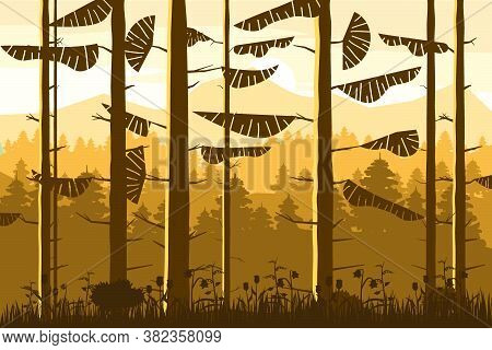 Forest Coniferous Trunks Of Fir Trees Silhoutte, Autumn, Fall Wood Hills. Vector Illustration Isolat