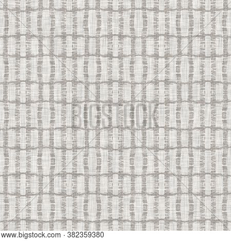 Seamless Light Grey Woven Check Linen Texture Background. Flax Hemp Fiber Natural Pattern. Organic F