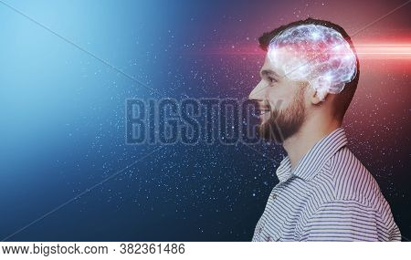 Upgrade Your Brain, Education Concept. Side View Portrait Of Smiling Millennial Man With Shining Bra