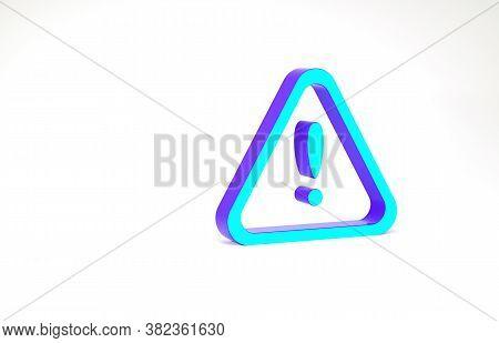 Turquoise Exclamation Mark In Triangle Icon Isolated On White Background. Hazard Warning Sign, Caref