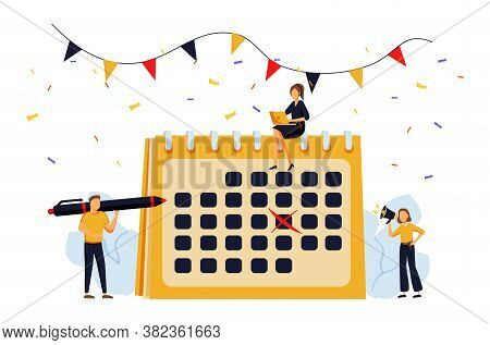 Colleagues Preparing For Corporate Party. Time Management, Deadline. Brand Event. Event Brand Manage