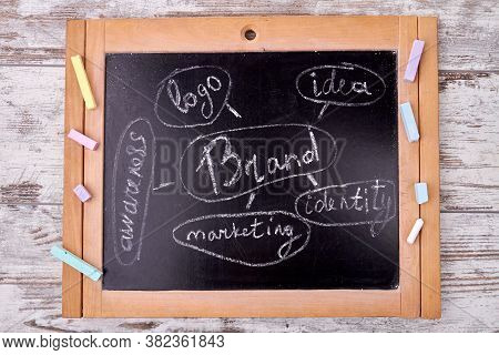 Chalkboard With Brand Design. Structure Of Brand Concept.