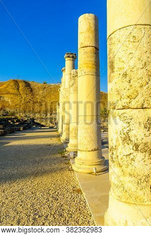 View Of The Reconstructed Cardo (palladius Street) In The Ancient Roman-byzantine City Of Bet Shean