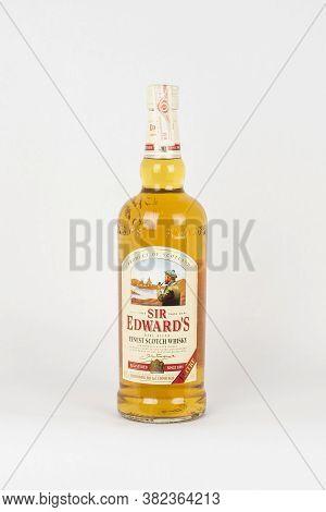 Palma, Mallorca, Spain - April 22 2019: Sir Edward's Rare Blend Finest Scotch Whisky Bottle 1 Litre,