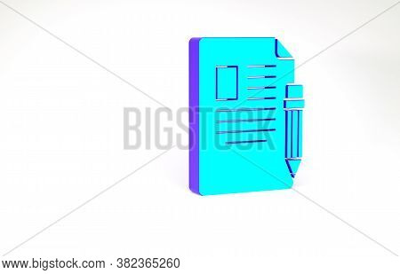 Turquoise Exam Sheet And Pencil With Eraser Icon Isolated On White Background. Test Paper, Exam, Or