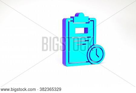 Turquoise Exam Sheet With Clock Icon Isolated On White Background. Test Paper, Exam, Or Survey Conce