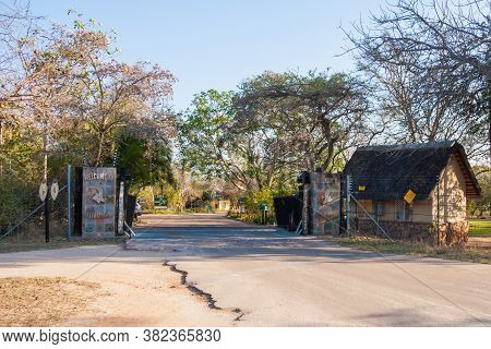 Pretoriuskop Restcamp Gate, Kruger National Park, South Africa, August 22, 2020: Gate At Pretoriusko