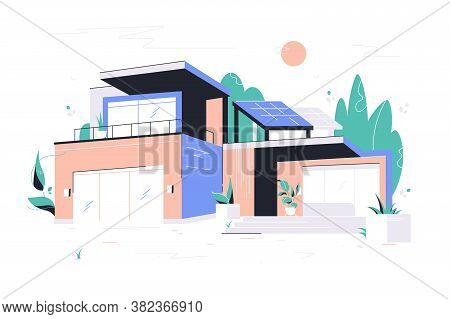 Modern Big House With Garage, Balcony And Roof Solar Panel. Concept Two-storied Building With Plants