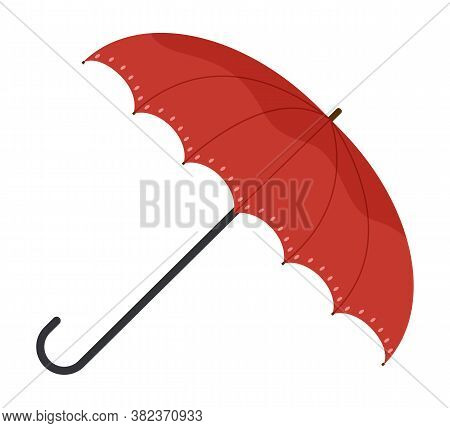Vector Illustration Of Classic Elegant Opened Red Umbrella Lies On Its Side On White Background. Bri