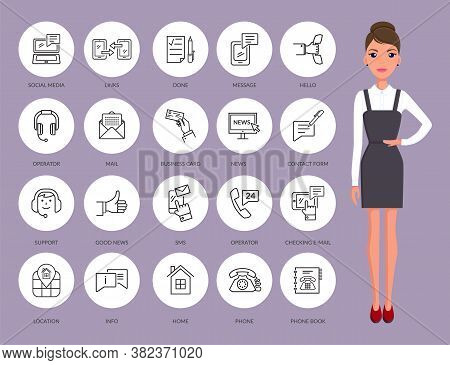 Communication Thin Line Icons. Serious Businesswoman And Set Of Contact Icons, Connection Methods. Y
