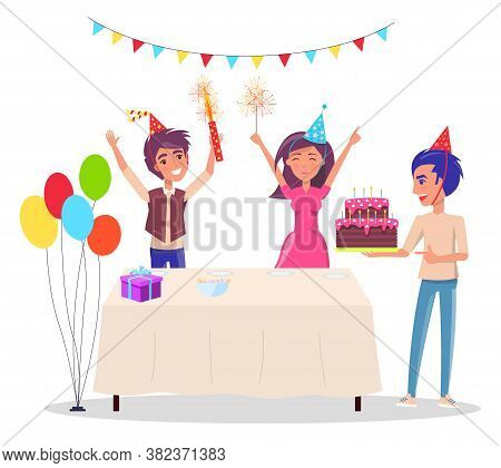Birthday Party. Happy Teenagers Celebrates Standing At The Festive Table With Gifts And Birthday Cak