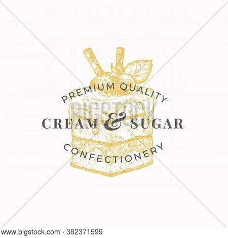 Cream And Sugar. Premium Quality Confectionary Abstract Sign, Symbol Or Logo Template. Hand Drawn Ca