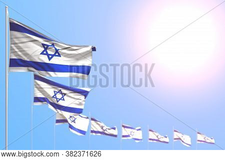 Cute Many Israel Flags Placed Diagonal With Bokeh And Empty Place For Your Text - Any Feast Flag 3d
