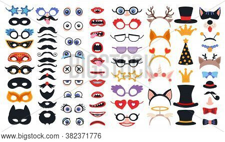 Party Photo Booth Props Set. Photobooth Elements Collection. Constructor With Face Masks And Glasses