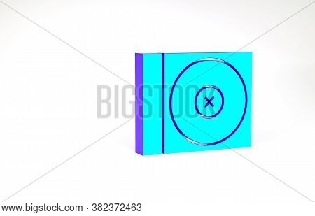 Turquoise Cd Or Dvd Disk Icon Isolated On White Background. Compact Disc Sign. Minimalism Concept. 3