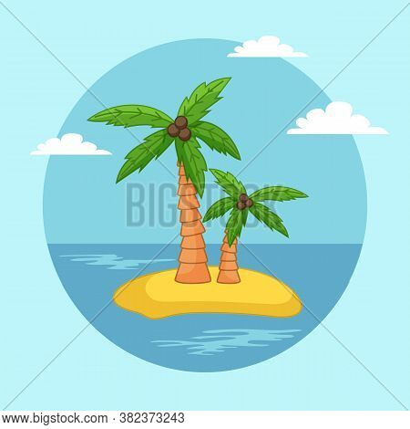 Palm Trees With Coconut On The Sand Island Flat Vector. Coconut Tree With Nuts Waterscape With Blue