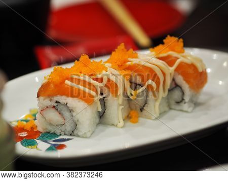 Sushi Shrimp Roe Rice Fresh Salmon Fish Arranged In Plate Style Japanese Food