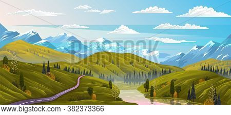 Natural Landscape Background With Mountains, Clear Sky And Clouds, The River Flows Along The Winding