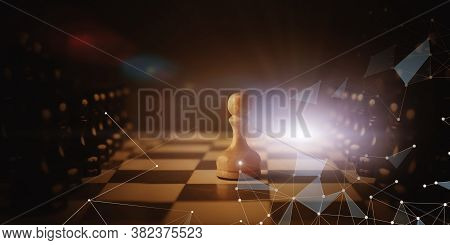 White Chess Pawn Standing Between Two Rows Of Black Pieces On Chessboard. Business Enemies And Compe