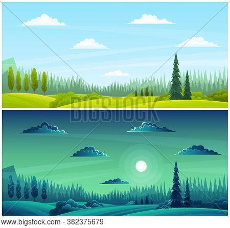 Day And Night Countryside Landscape Illustration With Moon, Grass On The Hills, Clear Sky, Rare Clou