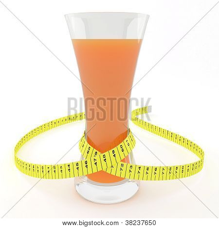 Glass Of Juice With A Measuring Tape