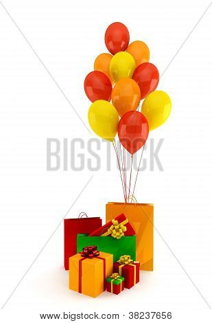 Gifts And Balloons On A White Background