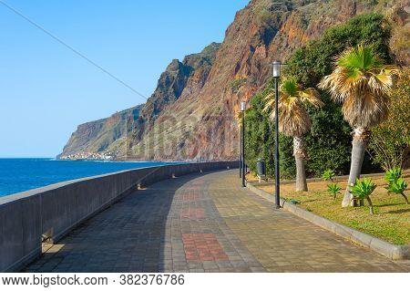Empty Promanade At Jardim Do Mar Village. Madeira Island, Portugal