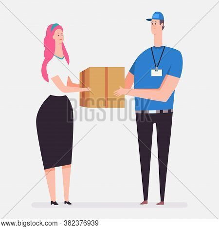 Courier Delivery Service. Vector Cartoon Flat Concept Illustration With A Courier And A Woman With A