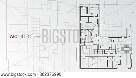 Modern Architecture. Building Floor Scheme Architectural Drawing On Gray Background. Panorama, Illus