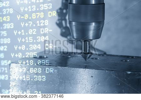 Abstract Scene Of Cnc Milling Machine And G-code Data Background Chamfer  Cut The Mold  Parts . The