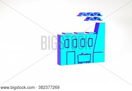 Turquoise Coal Power Plant And Factory Icon Isolated On White Background. Energy Industrial Concept.