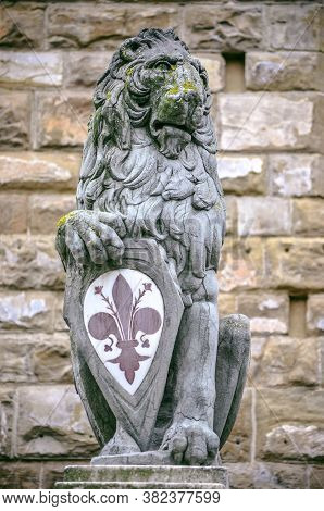 The Iconic Symbol Of The Lion With Lily Flower In Florence Sculpture