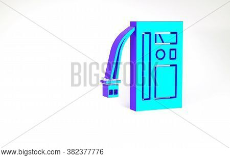 Turquoise Battery Icon Isolated On White Background. Accumulator Battery Energy Power And Electricit
