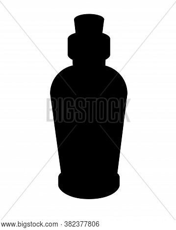 Vintage Bottle With Cork - Black Vector Silhouette For Pictogram Or Logo. Small Bottle Closed With A