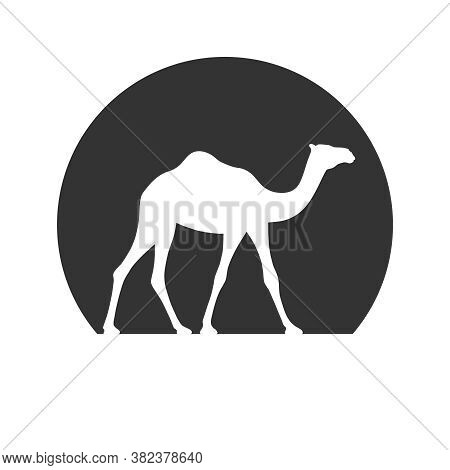Camel Graphic Icon. Camel In The Circle Sign Isolated On White Background. Camel Symbol Of Desert. V