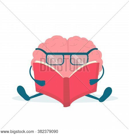 Cute Brain Character Reading Book Sitting Over White Background. Self-improvement And Intelligence.