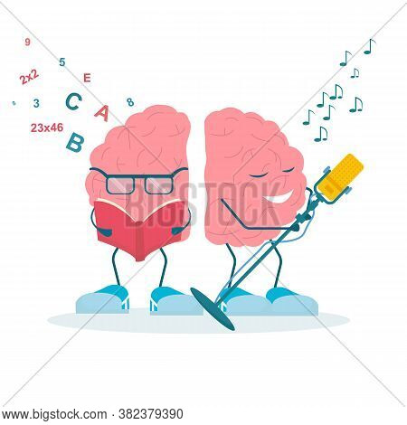 Brain Functions. Left Hemisphere Reading Book While The Right Singing Song Over White Background. Sq