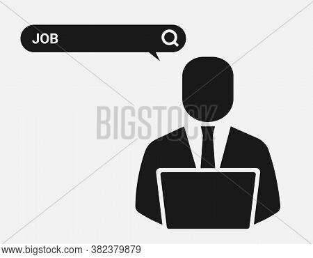 Job Search. Businessman At Laptop Browsing Internet Seeking Employment. Black-and-white Vector Illus