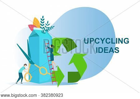 Upcycling Ideas For Secondary Use Of Waste. People Reusing Milk Carton On White Background, Vector I