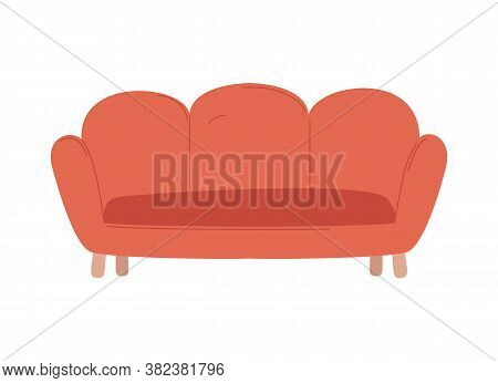 Comfortable Furniture For Home Vector, Red Sofa Made Of Fluffy Material With Wooden Stands, Decor Of