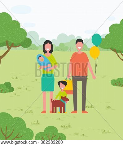 Happy Family Walks On Nature With Child, Daughter And Dog. Mom, Dad, Newborn In Her Arms, Daughter A