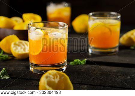 Homemade Lemon Iced Tea Glass.