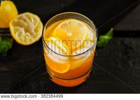 Citrus Lemon Iced Tea Close Up.