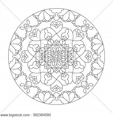 Mandala Coloring Page. Pretty With Little Hearts. Black And White. Art Therapy. Anti-stress Coloring