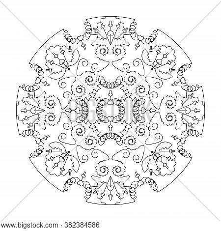 Mandala Coloring Page. With Hearts And Crosses. Black And White. Art Therapy. Anti-stress Coloring P