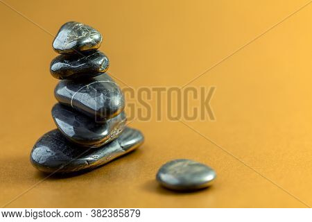 Stack Of Black Basalt Spa Stones. Zen Like Concepts.