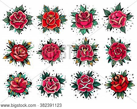 Old School Tattoo Roses Collection. Old School Tattoo Roses Set. Vector Elements Collection. Traditi